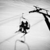 Our shadow from the Eagle chair lift at Park City Mountain Resort.