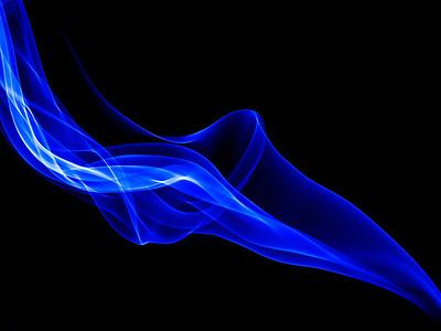 """blue""  Free flowing shape of smoke."
