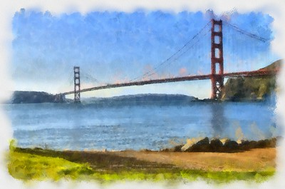 Golden Gate Bridge From Horseshoe Cove 2_Watercolor