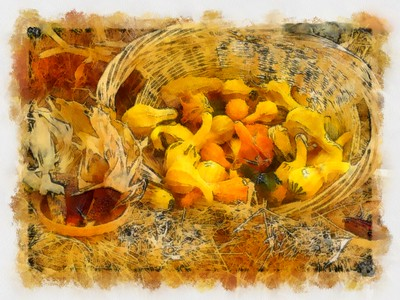 Basket Of Gourds - Abstract_DAP_Aquarell