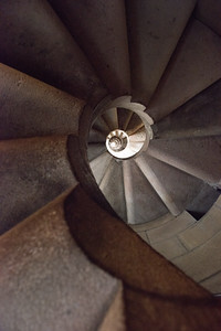 Sagrada Familia Passion Facade Stairwell from Below