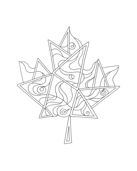 10,000 Pages: Canadian Maple Leaf Colouring Page 5780