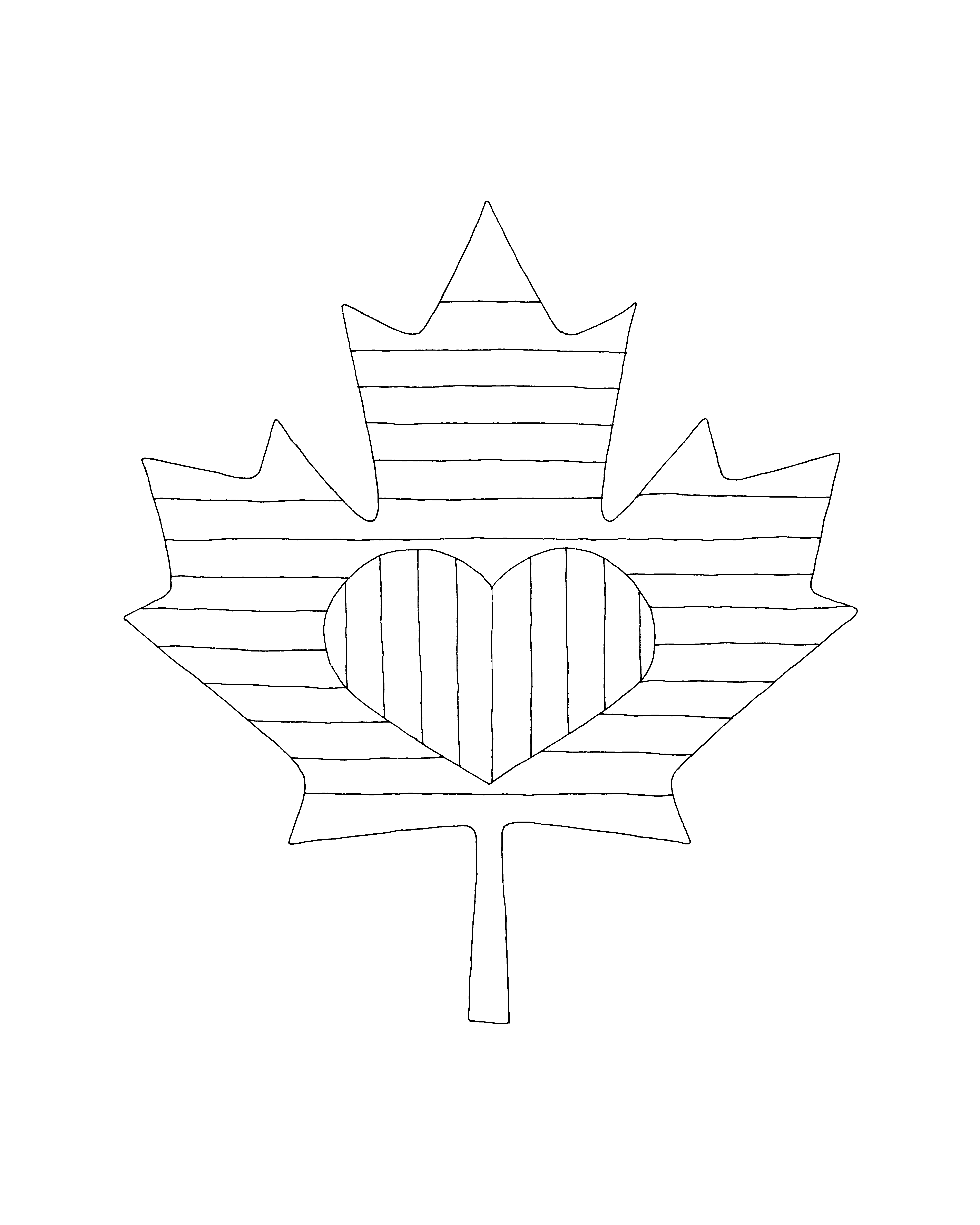 eight new maple leaf colouring pages drawn with love