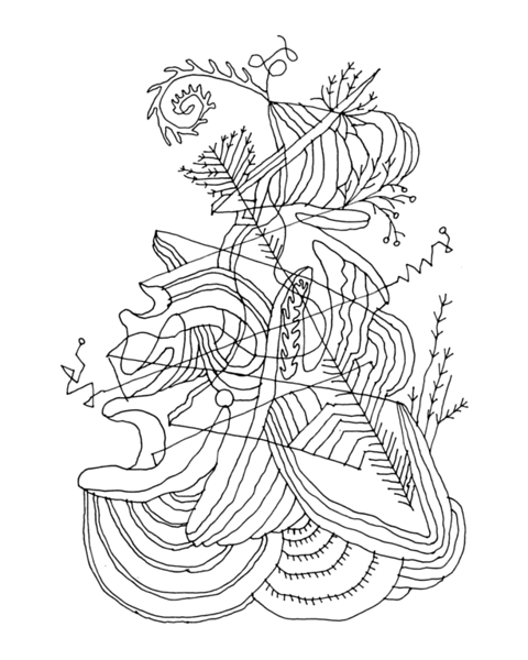 Free Adult Colouring Page with Abstract Drawing in Mind Form by Donald Lee