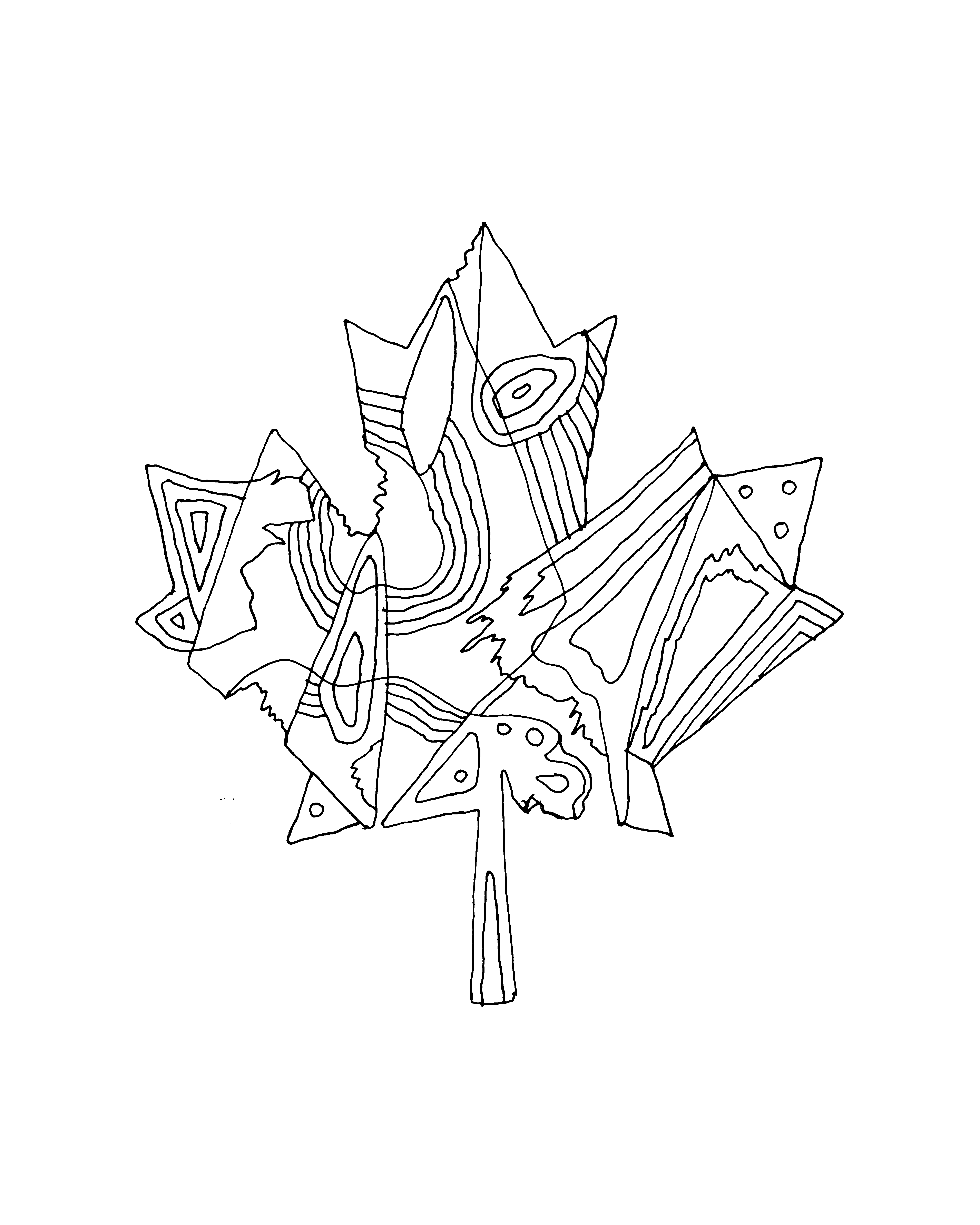 abstract line drawing page 5769 the 10000 page colouring book canadian maple leaf inner maple leaf free colouring page for adults and children - Download Colouring Book