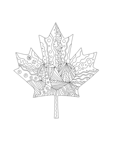 Canadian Maple LeafAdult Colouring Page with Abstract Drawing in Mind Form by Donald Lee