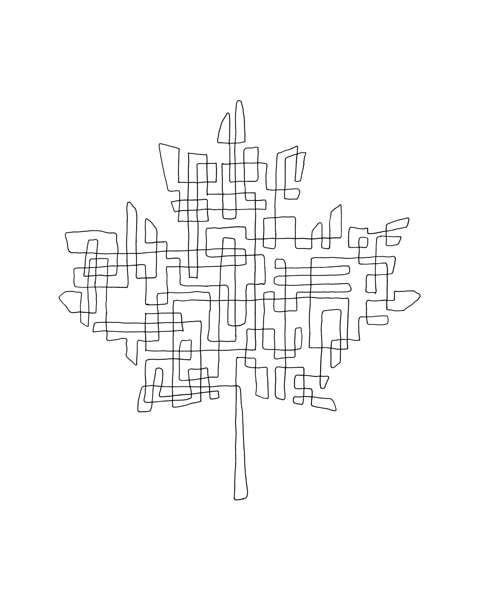 Free Canadian Maple Leaf Page with Abstract Drawing in Mind Form by Donald Lee