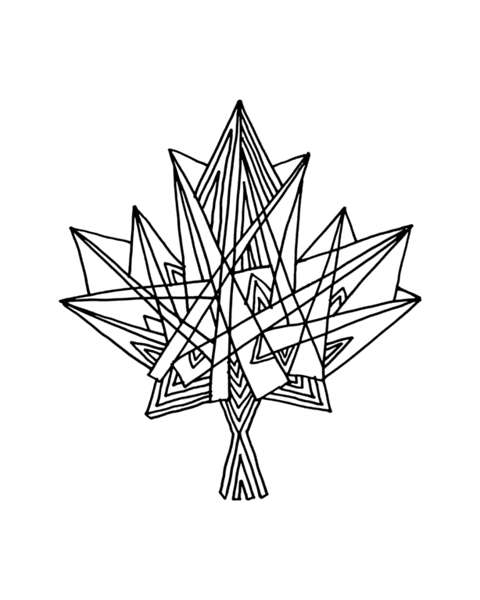 Canadian Maple Adult Colouring Page with Abstract Drawing in Mind Form by Donald Lee