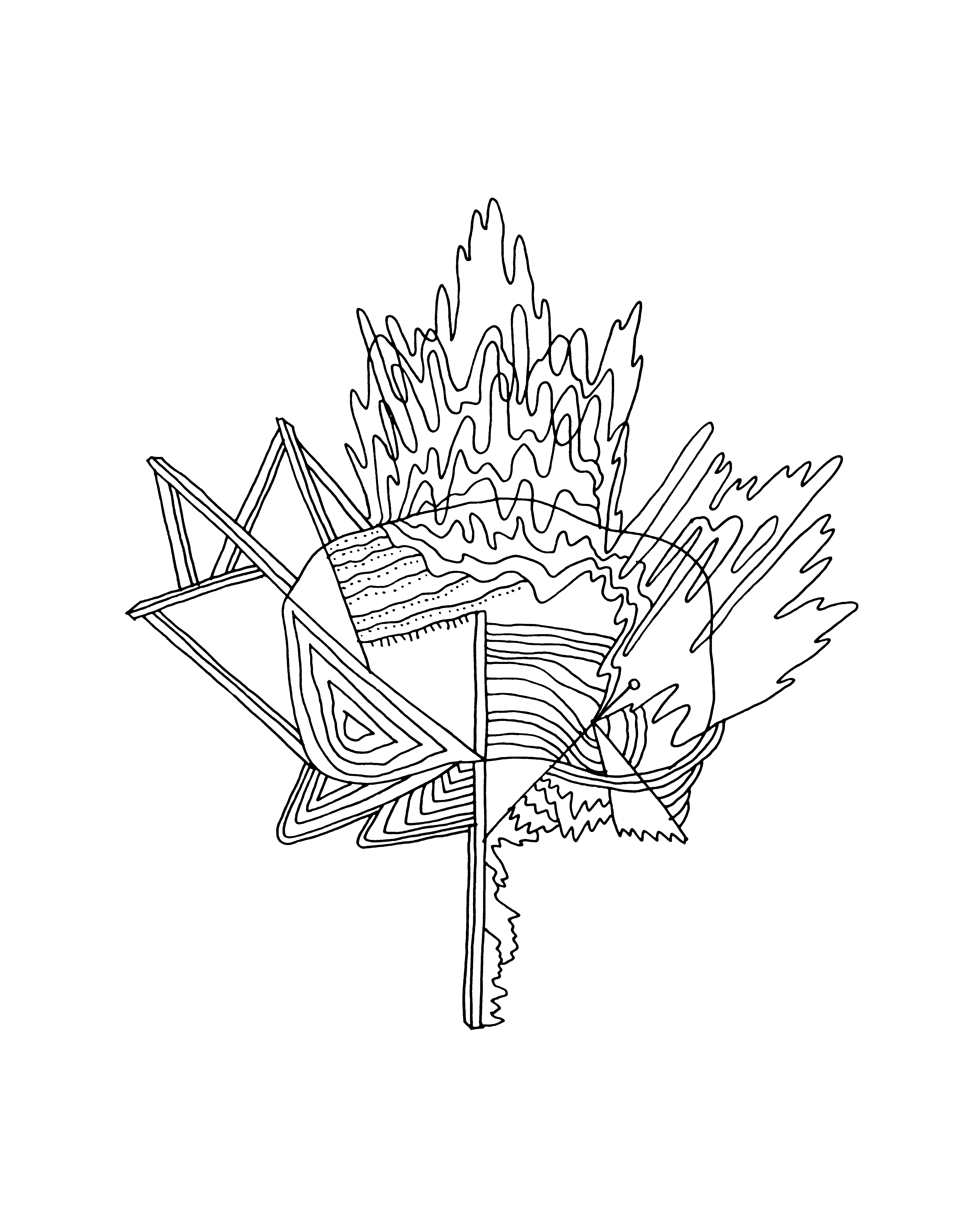 10,000 Pages: Canadian Maple Leaf Colouring Page 5943
