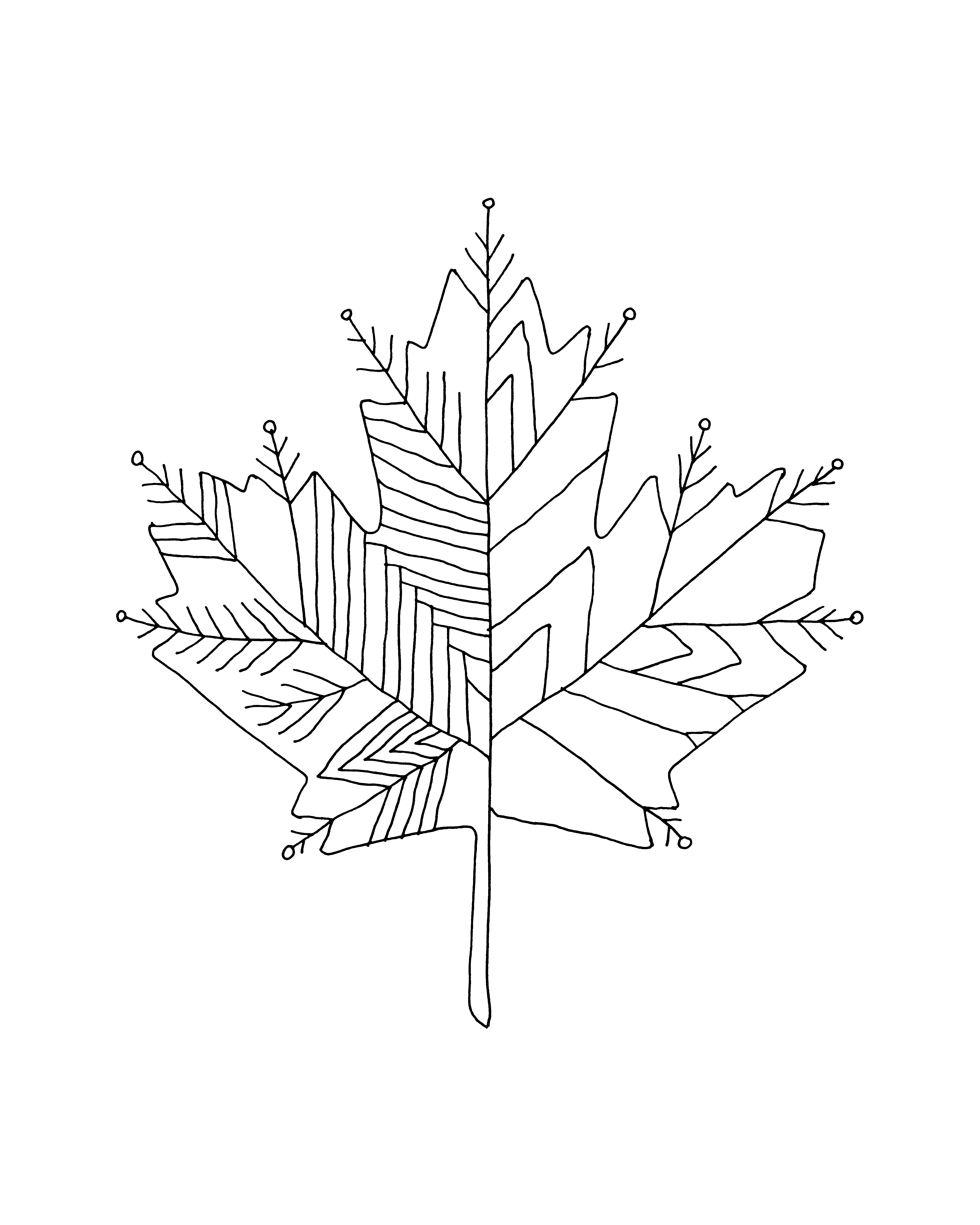 Inner Maple Leaves Colour With Recolor Coloring Pages Recolor