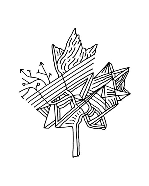 Canadian Maple Leaf Adult Colouring Page with Abstract Drawing in Mind Form by Donald Lee