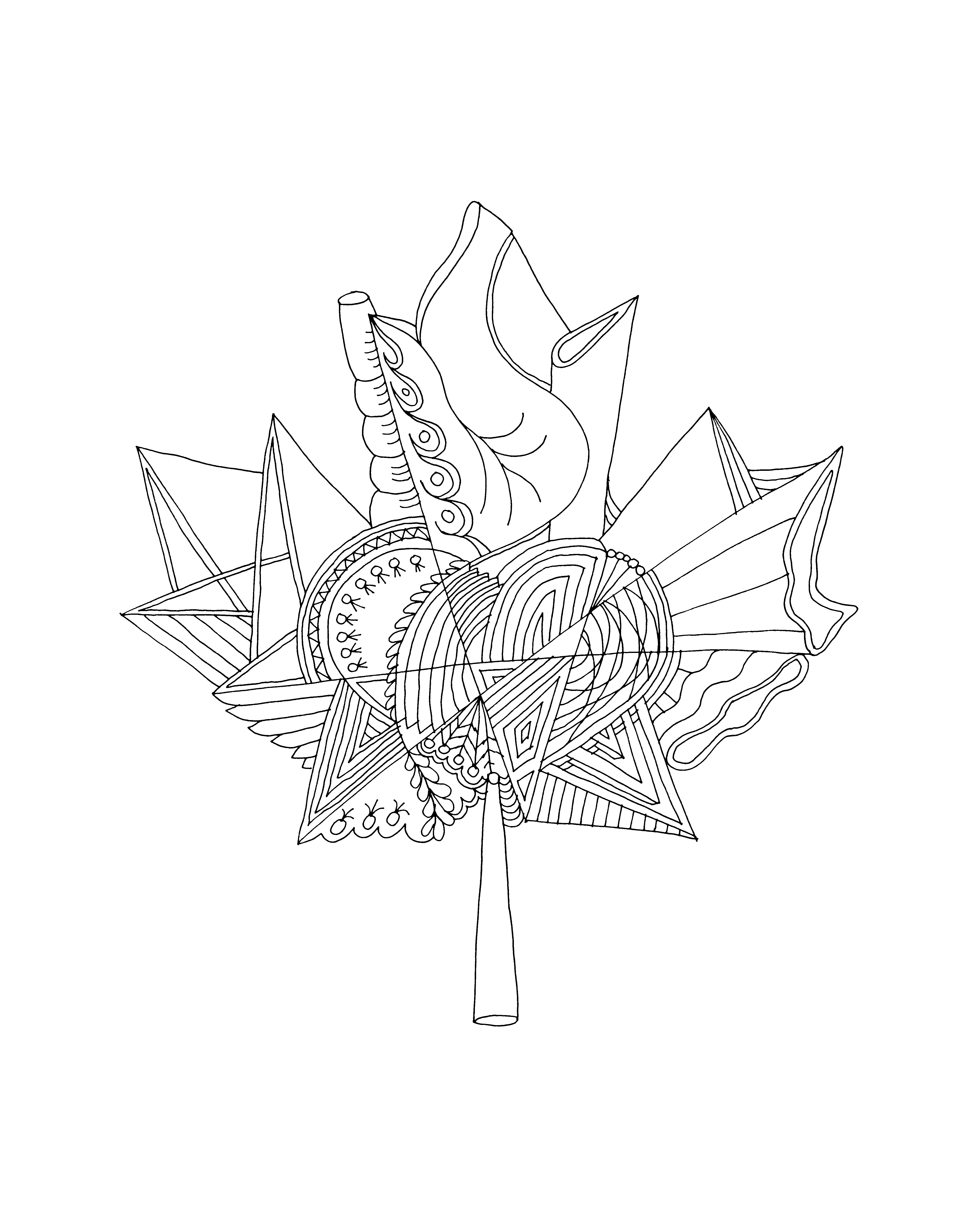 Download Colouring Page Abstract Line Drawing Canadian Maple Leaf