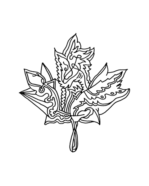 Inner Maple Leaf Colouring Page with Abstract Drawing in Mind Form by Donald Lee