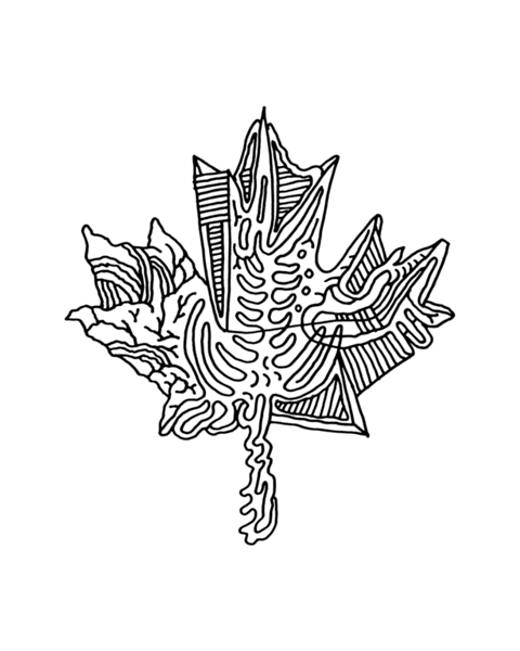 Canadian Inner Maple Leaf Colouring Page with Abstract Drawing in Mind Form by Donald Lee