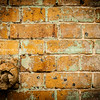 Brick wall background, vignette.