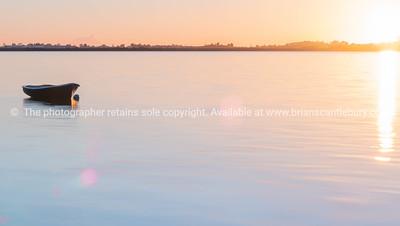 Tauranga Harbour sunrise  glow across water at dawn.
