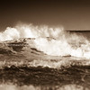Crashing surf, sepia toned.