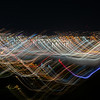 Abstract effect Wellington city urban bright night lights across city with wave and color pattern conveying nature of city life.