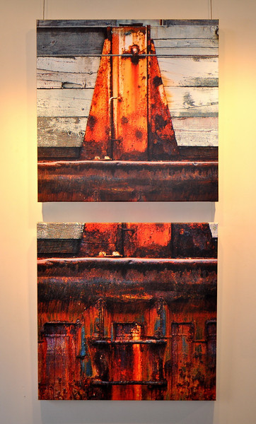 Stacks -  30 x 30 inches<br /> Fear     - 30 x 30 inches<br /> Shown At Dales Gallery - Blue/Azul Summer 2013