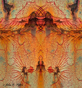 Abstract, mirrored rust metal