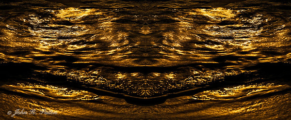 Abstract, mirrored golden waves