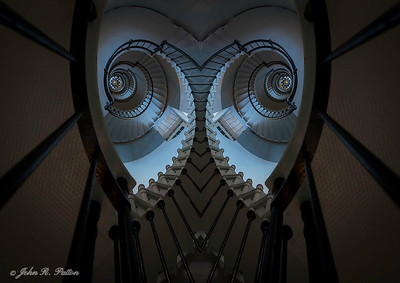 Abstract, mirrored lighthouse steps