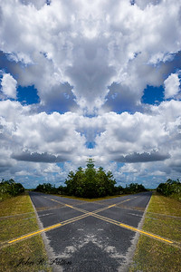 Abstract, mirrored rural Florida road