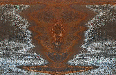 Abstract, mirrored rusty metal