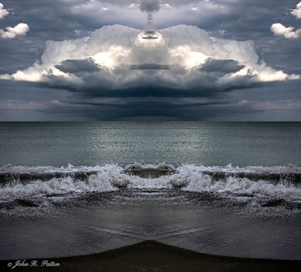 Abstract, mirrored clouds and wave