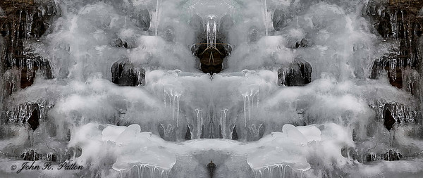 Abstract, mirrored ice on cliff