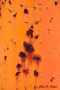 Rust spots on side of rail car