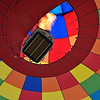 View from underneath a hot air balloon in flight at the International Hot Air Balloon Fiesta in Albuquerque, New Mexico