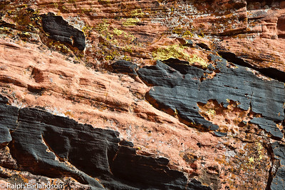 Colors in rock in Red Rock Canyon, Nevada.