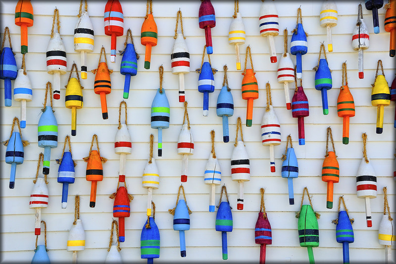 Buoys on Wall in Maine