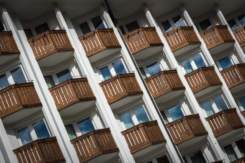 Balconies on a buildling in Cortina d'Ampezzo, Italy