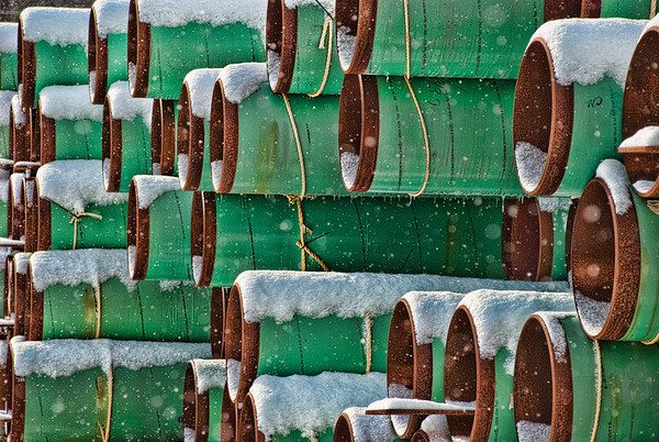 March 12 - Stacked Gas Pipe in Snow