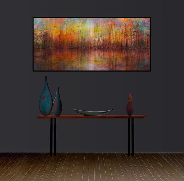 "Monet""s Autumn70""x35"" Black Aluminum Artbox Frame with Matte Acrylic Glass"