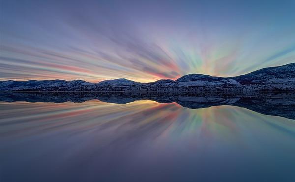 Skaha Winter Sunset Cloudstack Mirrored