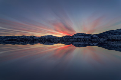 Skaha Winter Sunset Long Exposure Mirrored