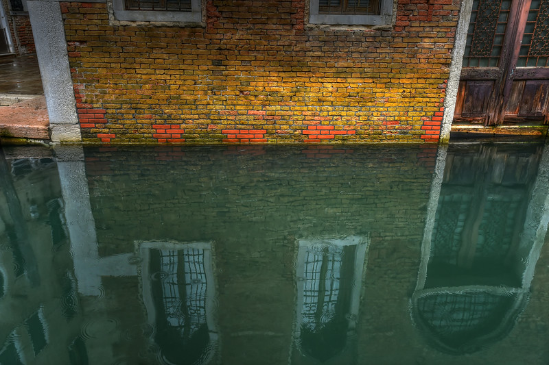 Venice Canal Reflection with raindrops