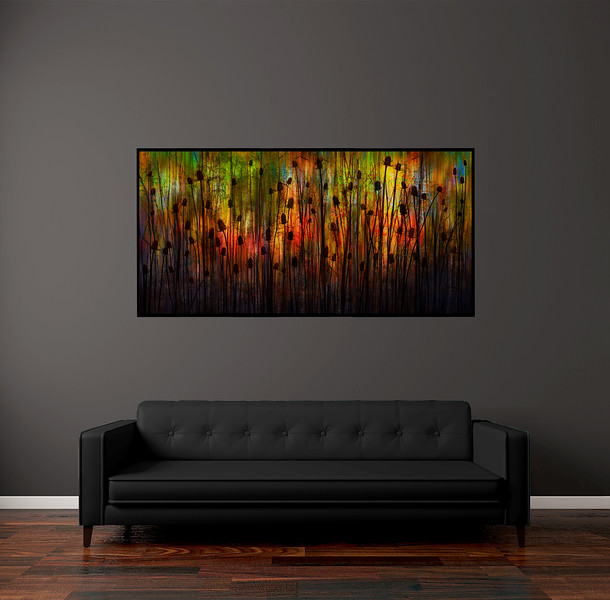"""Thickets and Thistle 70""""x35"""" Black Aluminum Artbox Frame with Matte Acrylic Glass"""