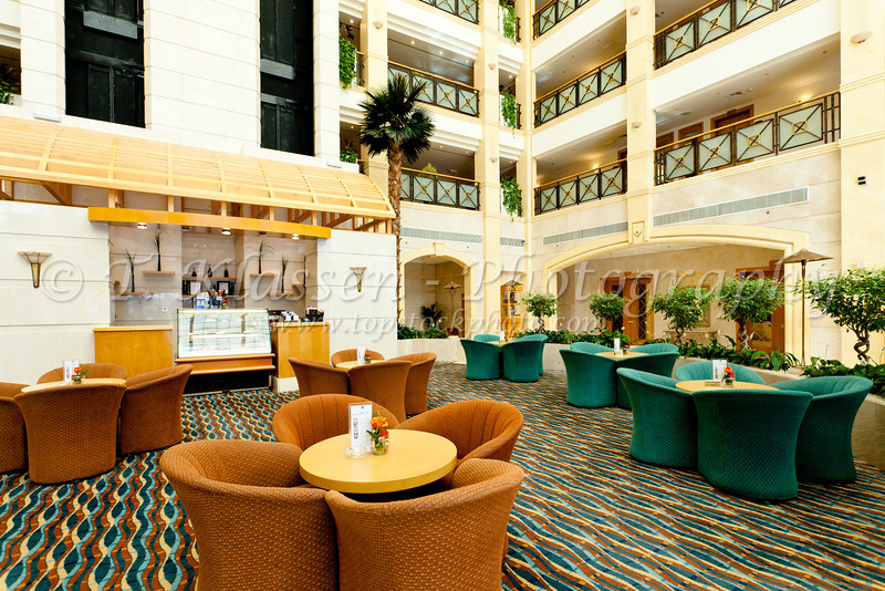 Interior lobby of The Al Ain Rotana Resort in Al Ain, Abu Dhabi Emirate, UAE.