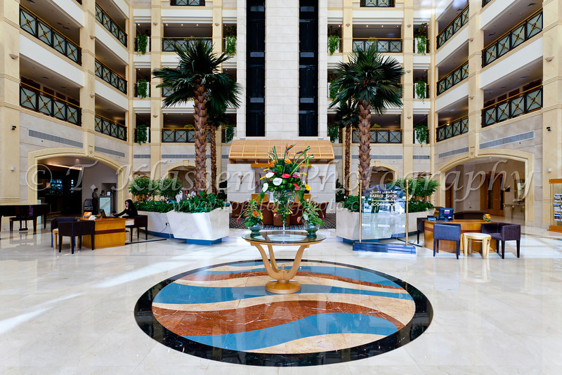 Interior lobby of The Al Ain Rotana Resort in Abu Dhabi Emirate, UAE.