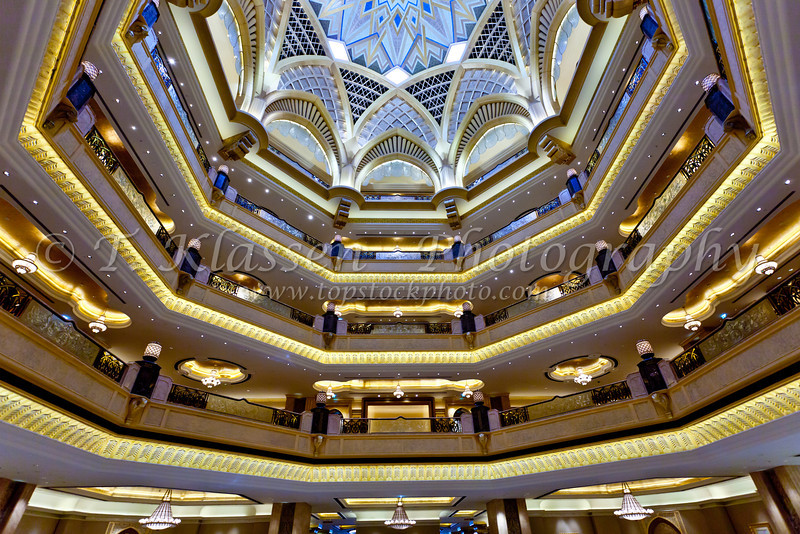 Interior decor of the main dome in the Emirates Palace Hotel in Abu Dhabi, UAE.