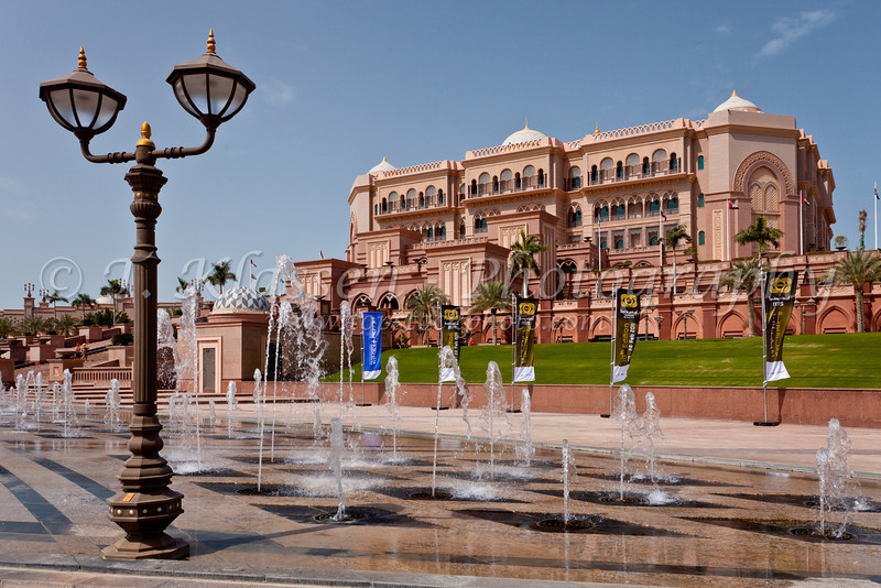 The exterior of The Emirates Palace Hotel in Abu Dhabi, UAE.