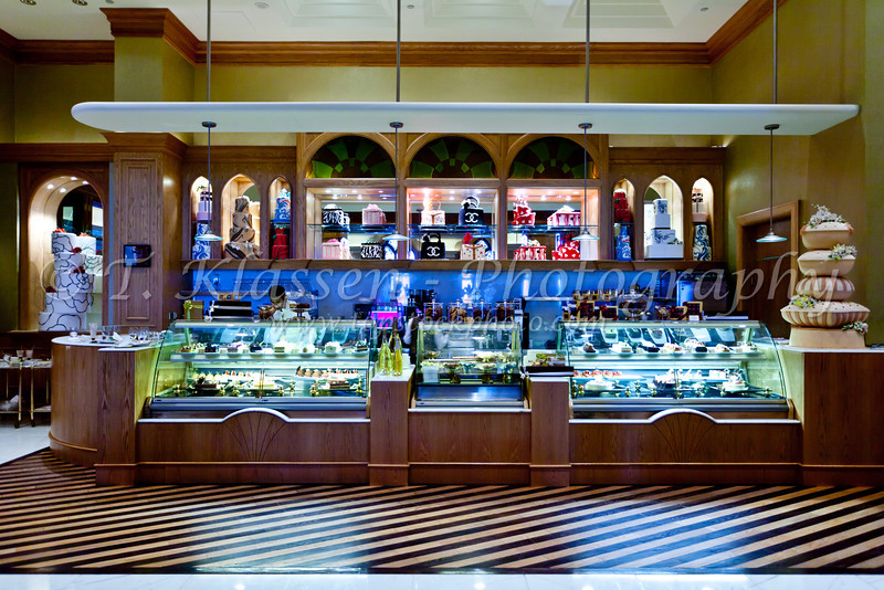 Interior decor of a pastry shop in the Emirates Palace Hotel in Abu Dhabi, UAE.