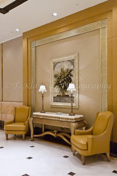 Interior decor of the Emirates Palace Hotel in Abu Dhabi, UAE.