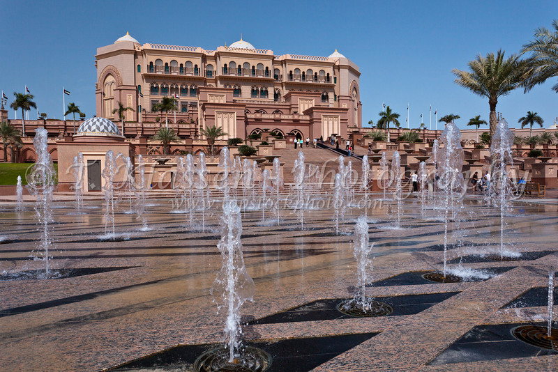 The exterior water fountain plaza of The Emirates Palace Hotel in Abu Dhabi, UAE.