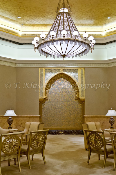 Interior decor of the Emirates Palace Hotel in Abu Dhabi, UAE.