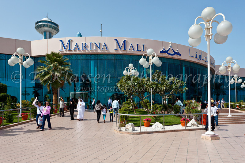 Shoppers entering the Marina Mall in Abu Dhabi, UAE.